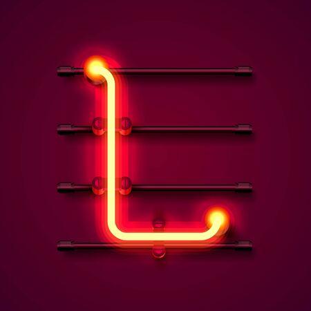 Neon font letter L, art design signboard. Vector illustration Ilustração