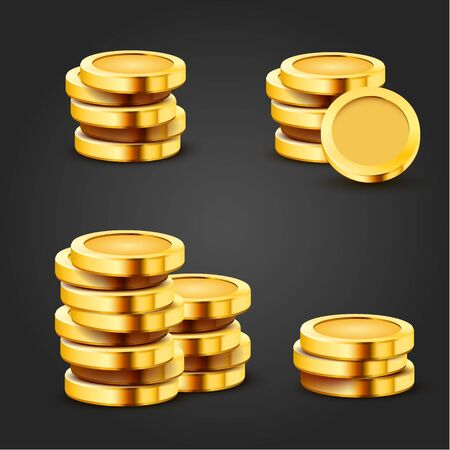 Set of golden stack dollar coins isolated on dark background. Economics concept. Vector illustration  イラスト・ベクター素材