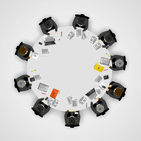 Business people at a round table. Vector illustration