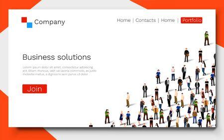 Business solutions. Teamwork and success concept. Landing page concept. Ilustração