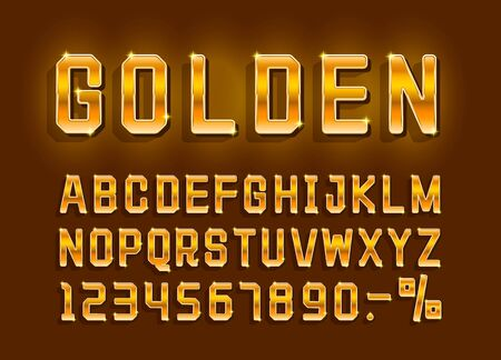 Golden font alphabet retro, number sign. Vector illustration Иллюстрация