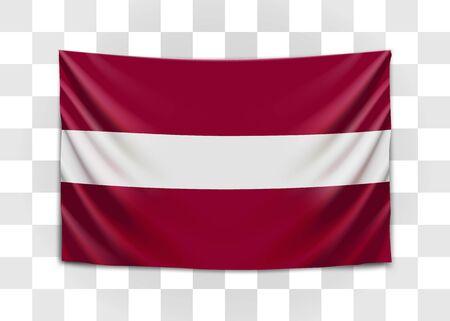 Hanging flag of Latvia. Republic of Latvia. Latvian national flag concept. Vector illustration.