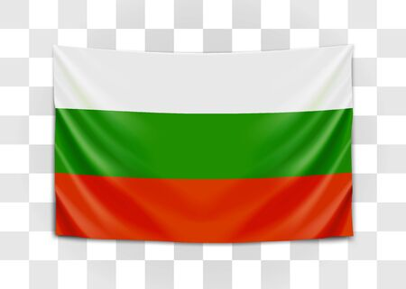 Hanging flag of Bulgaria. Republic of Bulgaria. National flag concept. Vector illustration.