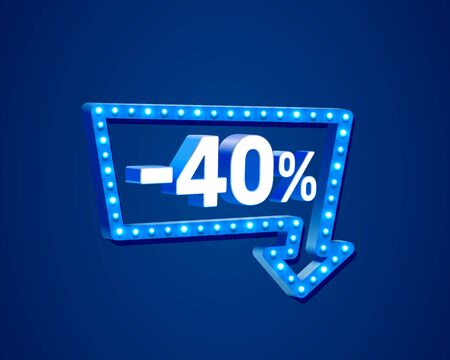 Banner 40 off with share discount percentage, neon signboard arrow. Vector illustration