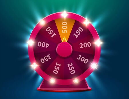 Wheel of luck or fortune. Gamble chance leisure. Colorful gambling wheel. Jackpot prize concept background. Vector Illustration