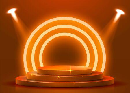 Abstract round podium illuminated with spotlight. Award ceremony concept. Stage backdrop.