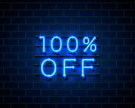 Neon 100 off text banner. Night Sign. Vector illustration Vectores