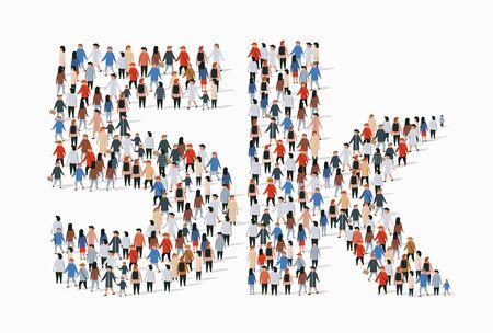 Grupo de personas en forma de signo de 5k. Cinco mil seguidores. Ilustración vectorial