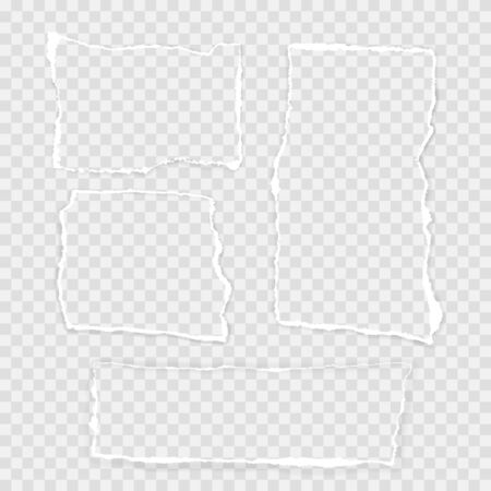 Torn Square paper set on the Transparent background. Vector illustration