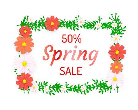 Spring poster 50 Percent off sale frame. Vector illustration