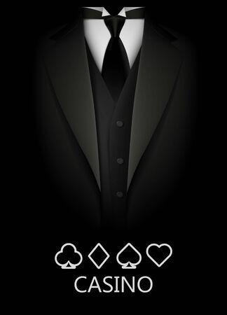 Esmoquin con fondo de palo de cartas. Concepto de casino. Club de póquer de élite. Ilustración de vector limpio