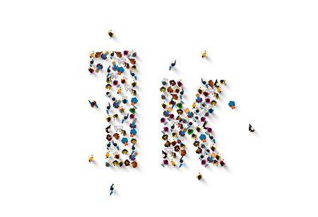 people letter 1k sign, white background. Vector illustration