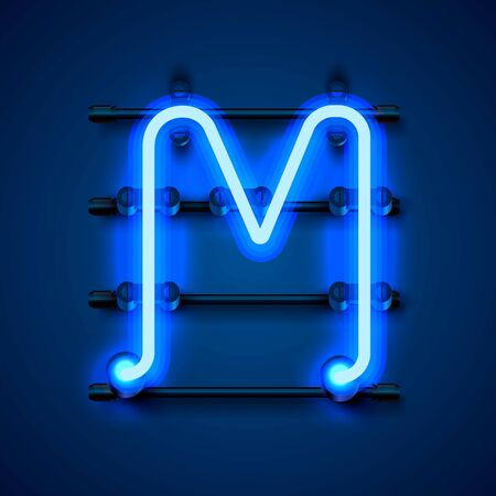Neon font letter M, art design signboard. Vector illustration