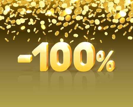 Big Discount, action with share discount percentage 100. Vector illustration