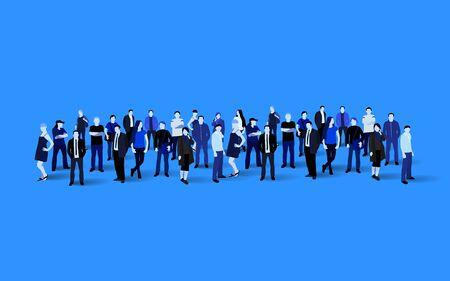 Big people crowd on blue background. Vector illustration. Ilustração