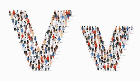 Grand groupe de personnes sous forme de lettre V. Arrière-plan transparent de vecteur