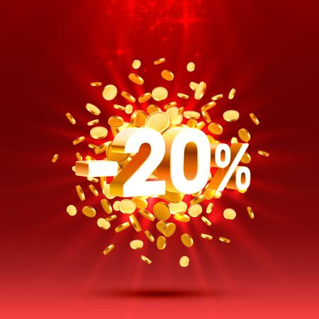 Podium action with share discount percentage 20. Vector illustration