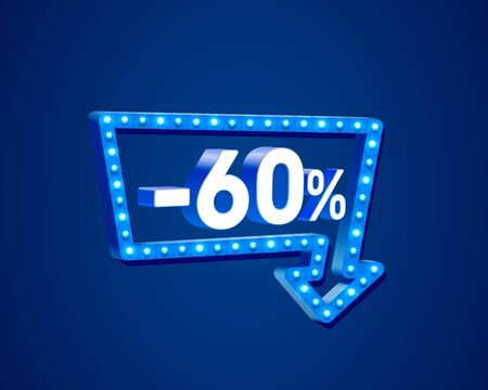 Banner 60 off with share discount percentage, neon signboard arrow. Vector illustration