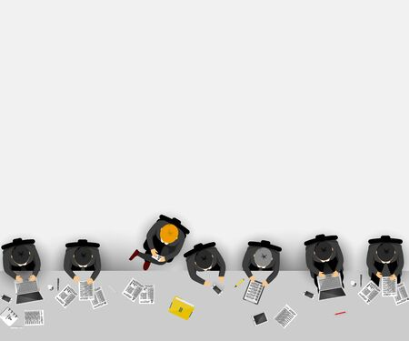 Group of business people working in office. Vector illustration