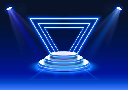 Stage podium with lighting, Stage Podium Scene with for Award Ceremony on blue Background, Vector illustration Ilustrace