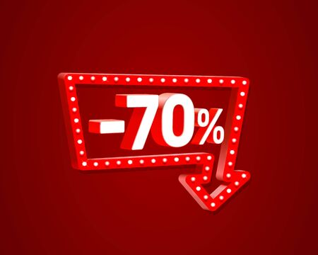 Banner 70 off with share discount percentage, neon signboard arrow. Vector illustration Illustration