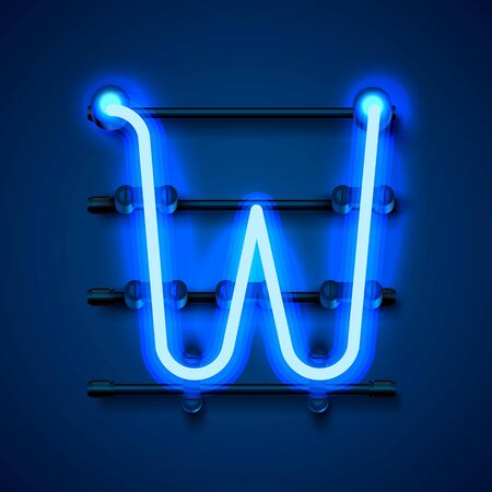 Neon font letter W, art design signboard. Vector illustration