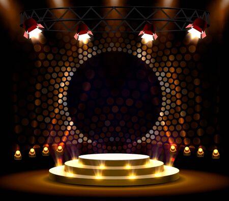 Bühnenpodium mit Beleuchtung, Bühnenpodium Szene mit für Preisverleihung auf goldenem Hintergrund. Vektor-Illustration Vektorgrafik