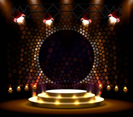 Stage podium with lighting, Stage Podium Scene with for Award Ceremony on golden Background. Vector illustration Vetores
