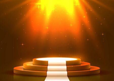 Streszczenie okrągłe podium z białym dywanem oświetlonym reflektorami. Koncepcja ceremonii wręczenia nagród. Tło sceny. Ilustracja wektorowa Ilustracje wektorowe