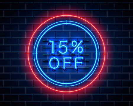 Neon 15 off text banner. Night Sign. Vector illustration