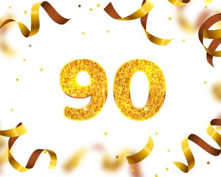 Anniversary Banner 90th, Gold Ribbon Fly. Vector illustration