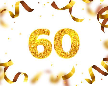 Anniversary Banner 60th, Gold Ribbon Fly. Vector illustration