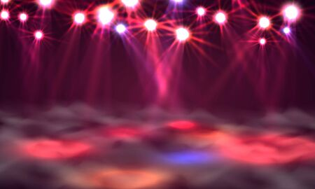 Dance floor banner, Light and smoke on stage. Vector illustration Stock Illustratie