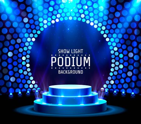 Stage podium with lighting, Stage Podium Scene with for Award Ceremony on blue Background. Vector illustration Illustration