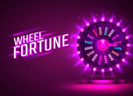 Casino neon colorful fortune wheel. purple background. Vector illustration Stock Illustratie