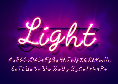 Neon tube hand drawn alphabet font. Script type letters on a dark background. Vector typeface for labels, titles or posters. Vector illustration