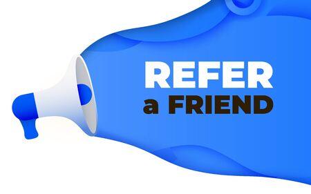 Megáfono con referir un concepto de ilustración de vector de palabra de amigo. Plantilla de página de destino, interfaz de usuario, web, aplicación móvil, póster, pancarta, folleto, fondo. Ilustración vectorial