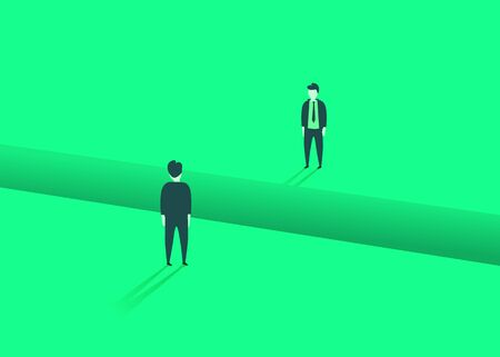 Business comunication or negotiation problems, issues. Two businessmen with gap between them. Vector illustration.