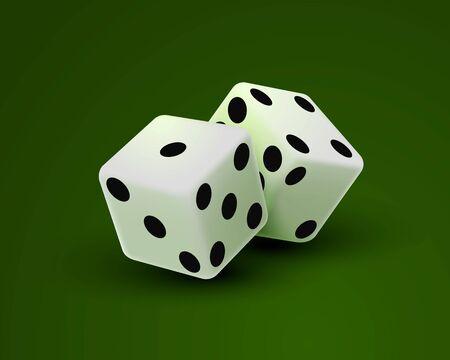 Dados de casino sobre un fondo verde, plantilla de elemento de diseño. Ilustración vectorial Ilustración de vector