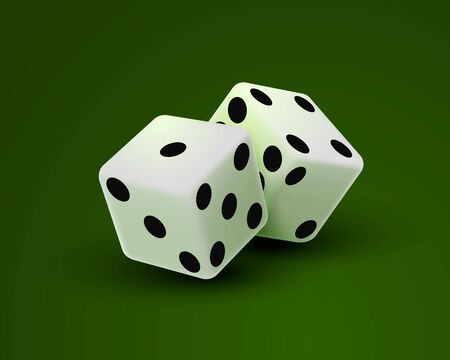 Casino dice on a green background, design element template. Vector illustration