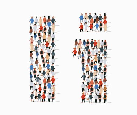 Large group of people in letter I form. Vector seamless background