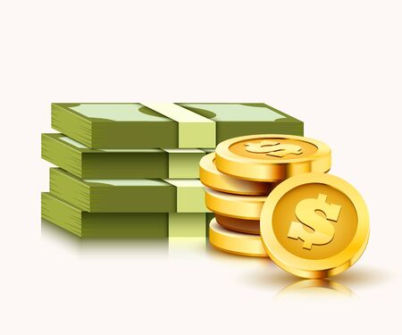 Stack of paper dollars and golden coins isolated on white background. Vector illustration Illustration