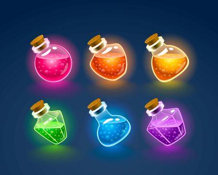 Magic Flasks color set, dark background. Vector illustration