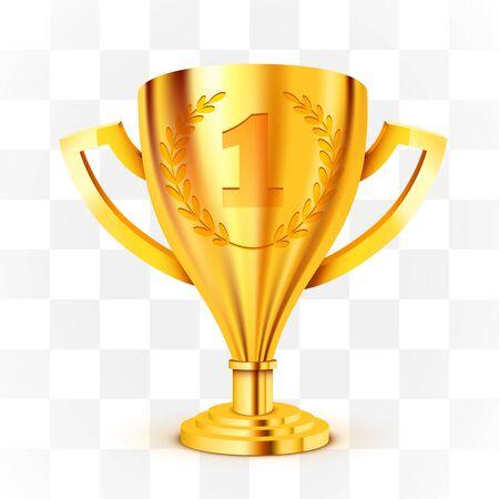 Trofeo d'oro realistico su sfondo trasparente. illustrazione vettoriale Vettoriali