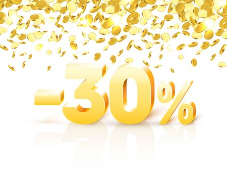 Big Discount, action with share discount percentage 30. Vector illustration