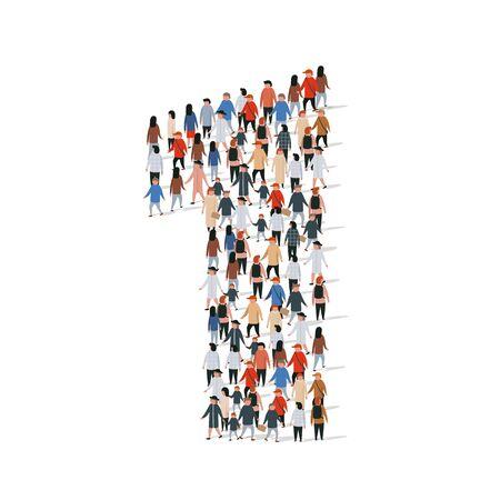 Gran grupo de personas en el número 1 una forma. Ilustración vectorial Ilustración de vector