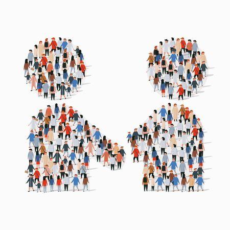 Big group of people in form of handshake symbol. Vector illustration