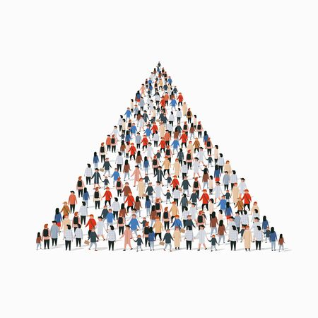 Large group of people in shape of pyramid. Infographics concept. Vector illustration