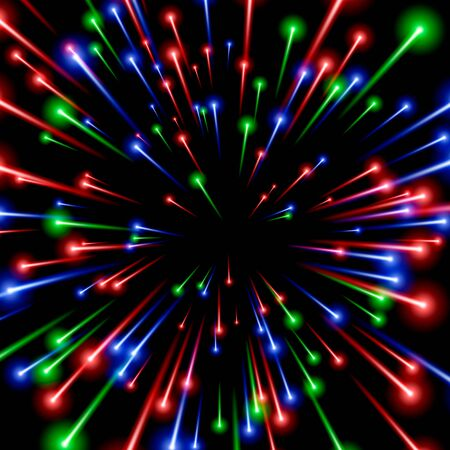 RGB space art, color ray energy. black background. Vector illustration