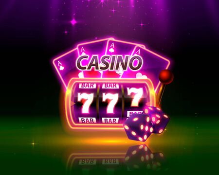 Casino Neon cover, slot machines and roulette with cards, Scene background art. Vector illustration